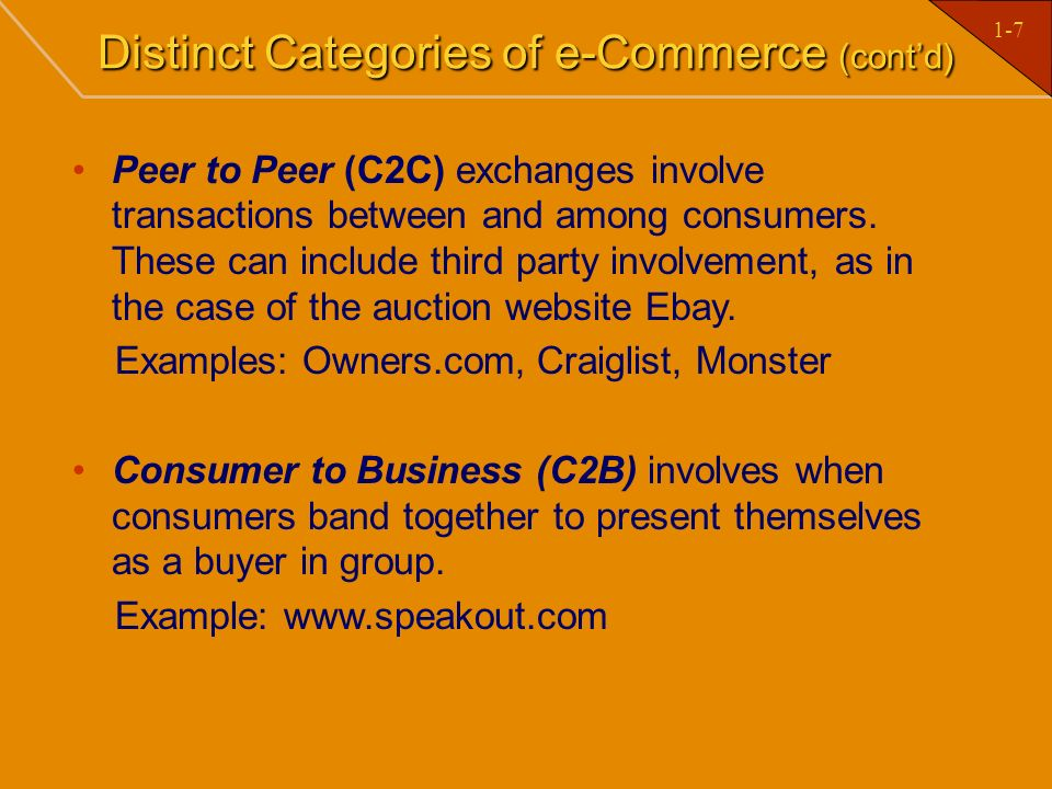 Distinct Categories of e-Commerce (cont'd)