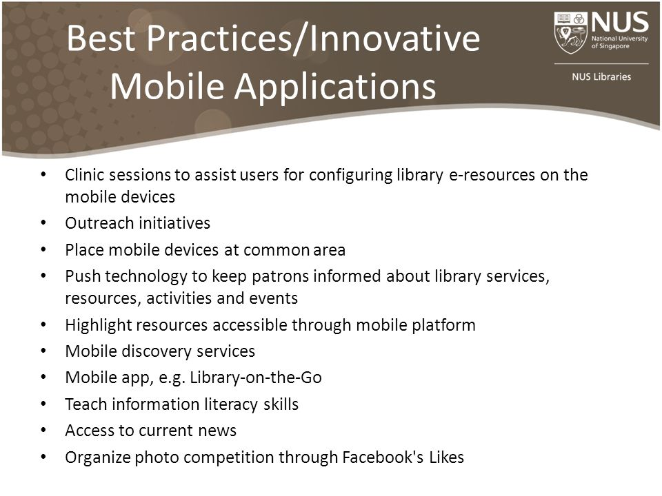 Best Practices/Innovative Mobile Applications