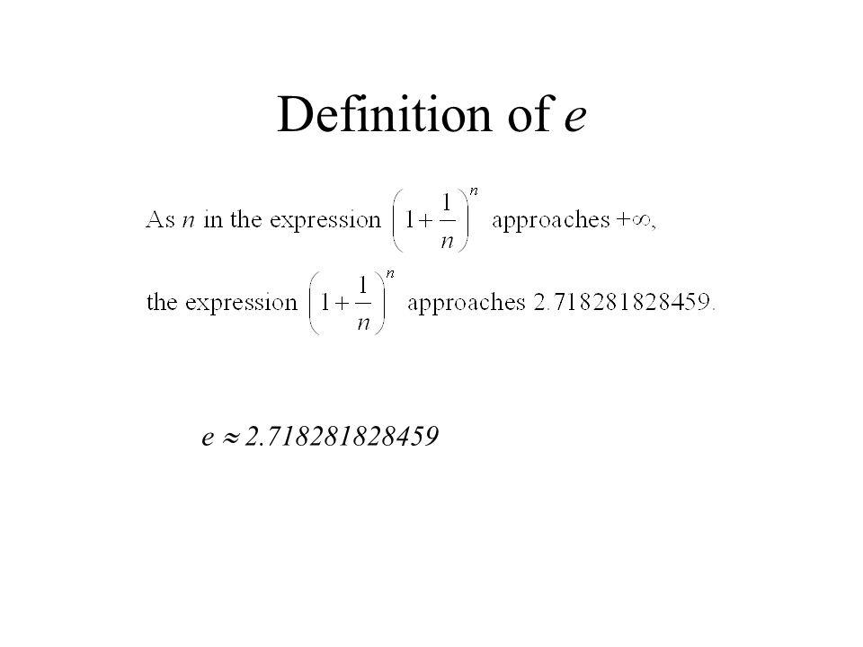 Definition of e e  2.718281828459