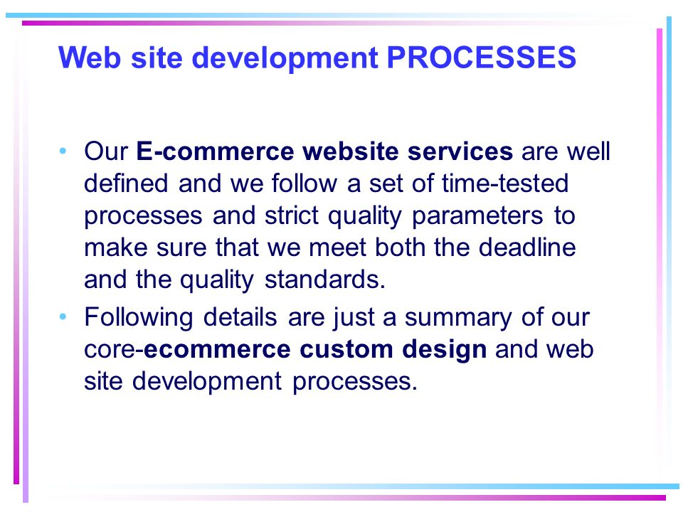 Web site development PROCESSES