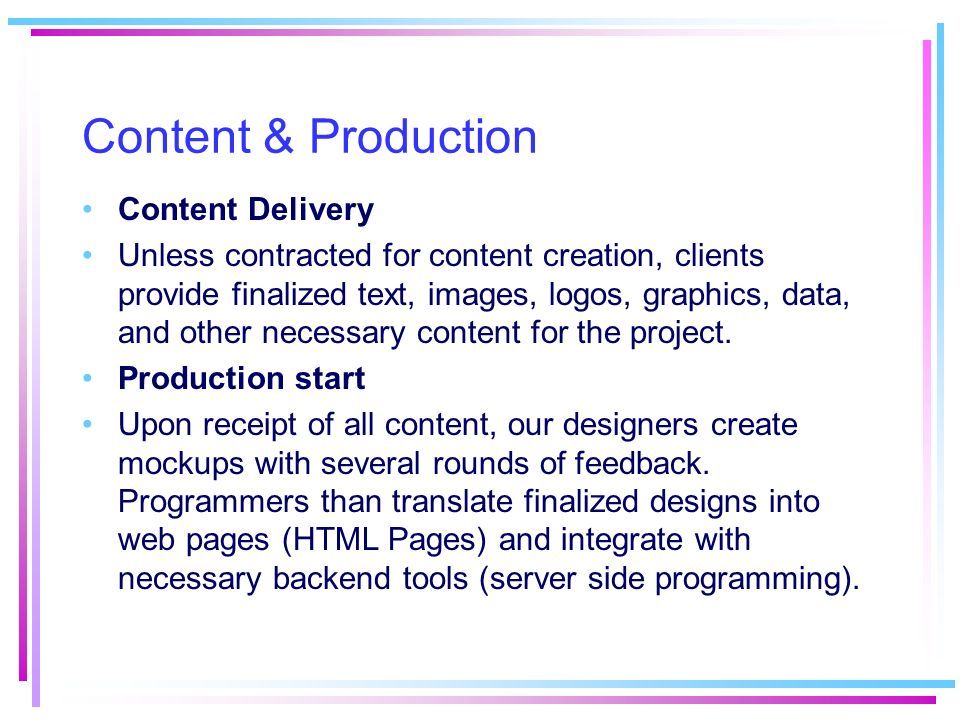 Content & Production Content Delivery