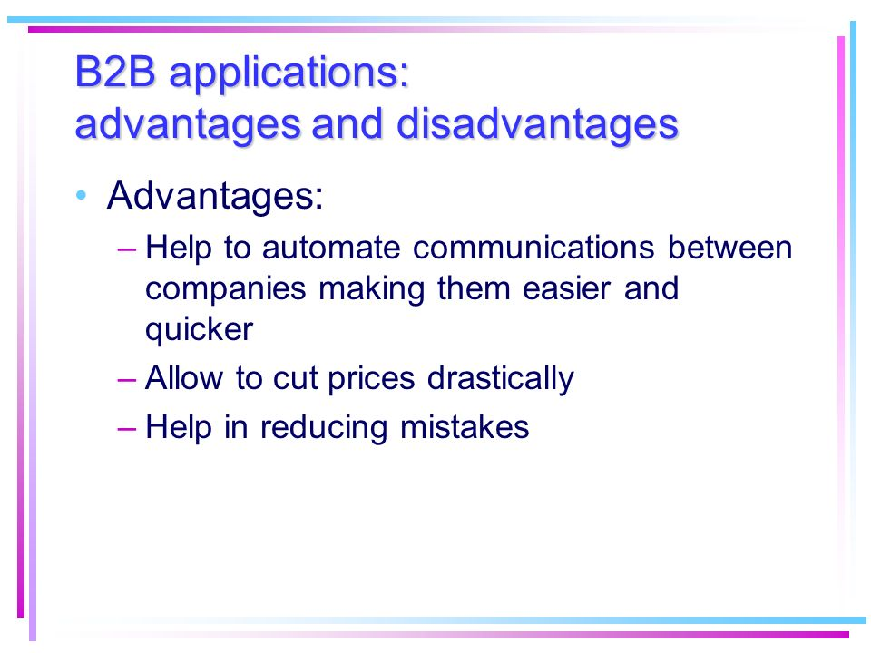 B2B applications: advantages and disadvantages