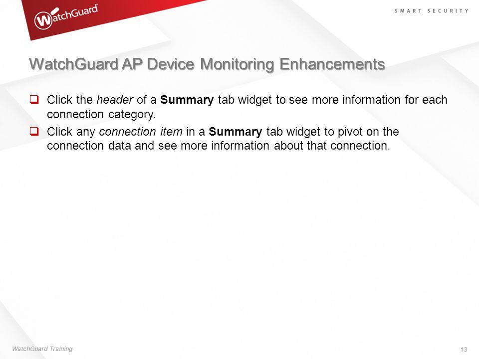 WatchGuard AP Device Monitoring Enhancements
