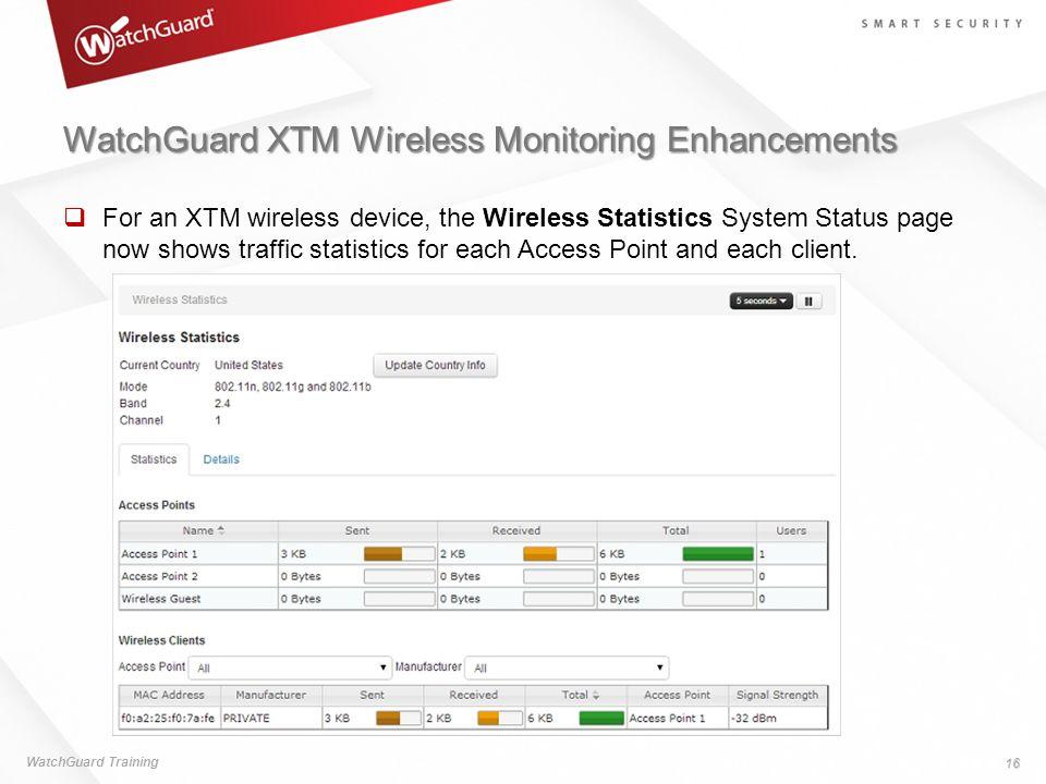 WatchGuard XTM Wireless Monitoring Enhancements