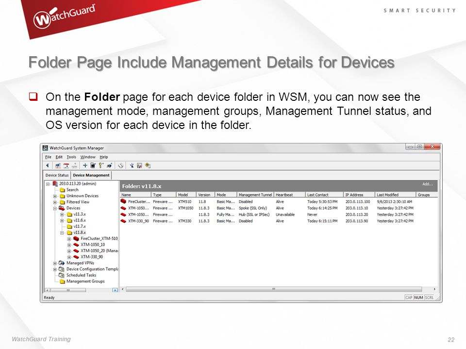 Folder Page Include Management Details for Devices