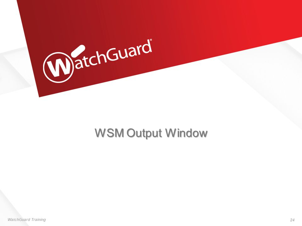 WSM Output Window WatchGuard Training