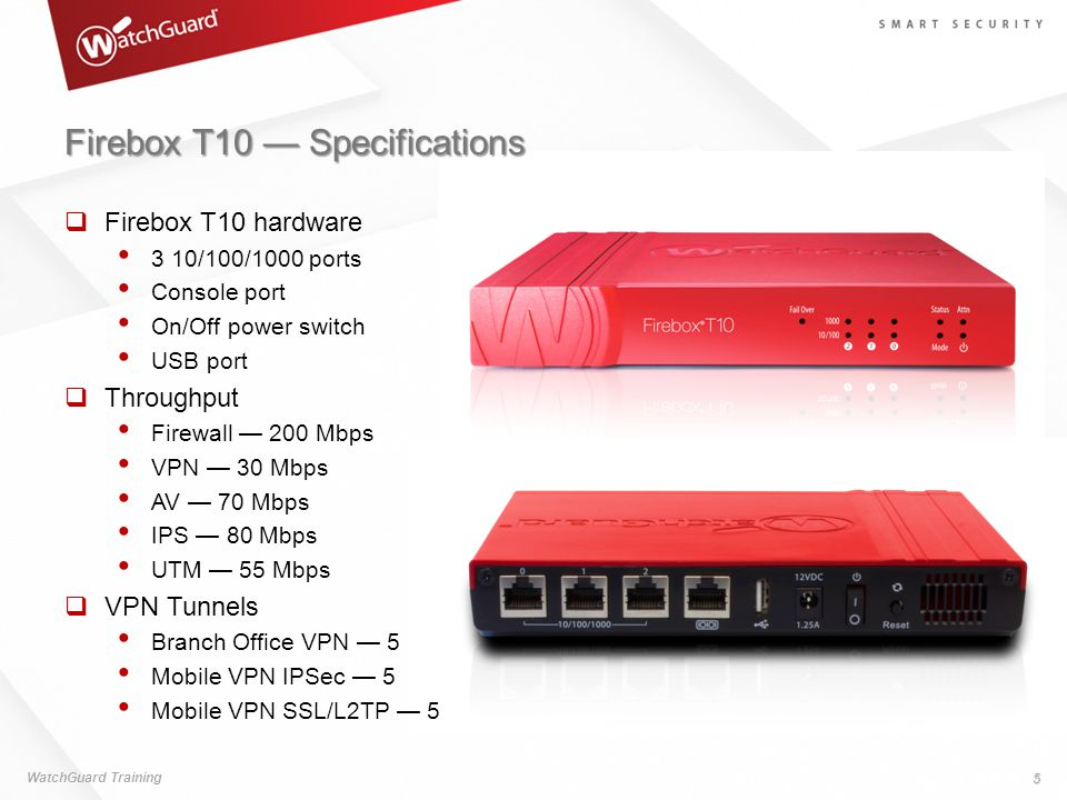 Firebox T10 — Specifications