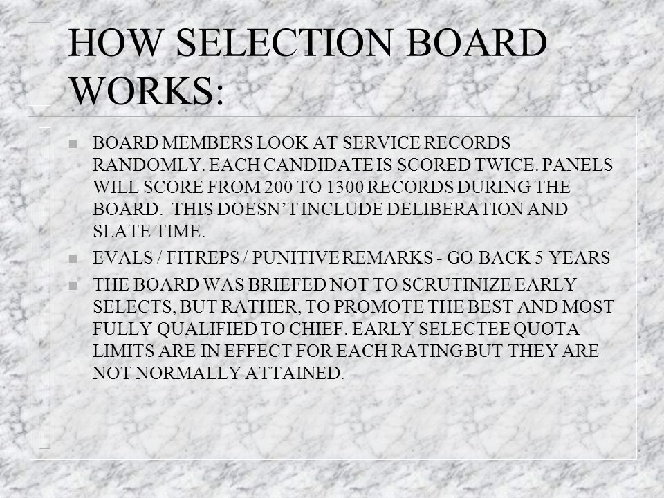 HOW SELECTION BOARD WORKS: