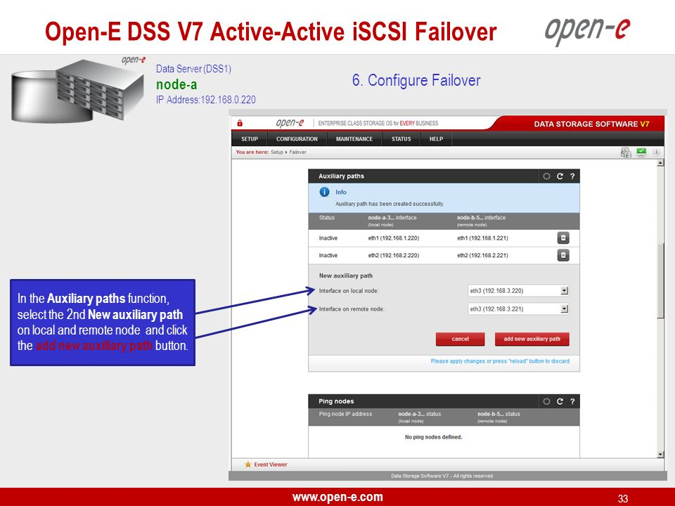 Open-E DSS V7 Active-Active iSCSI Failover