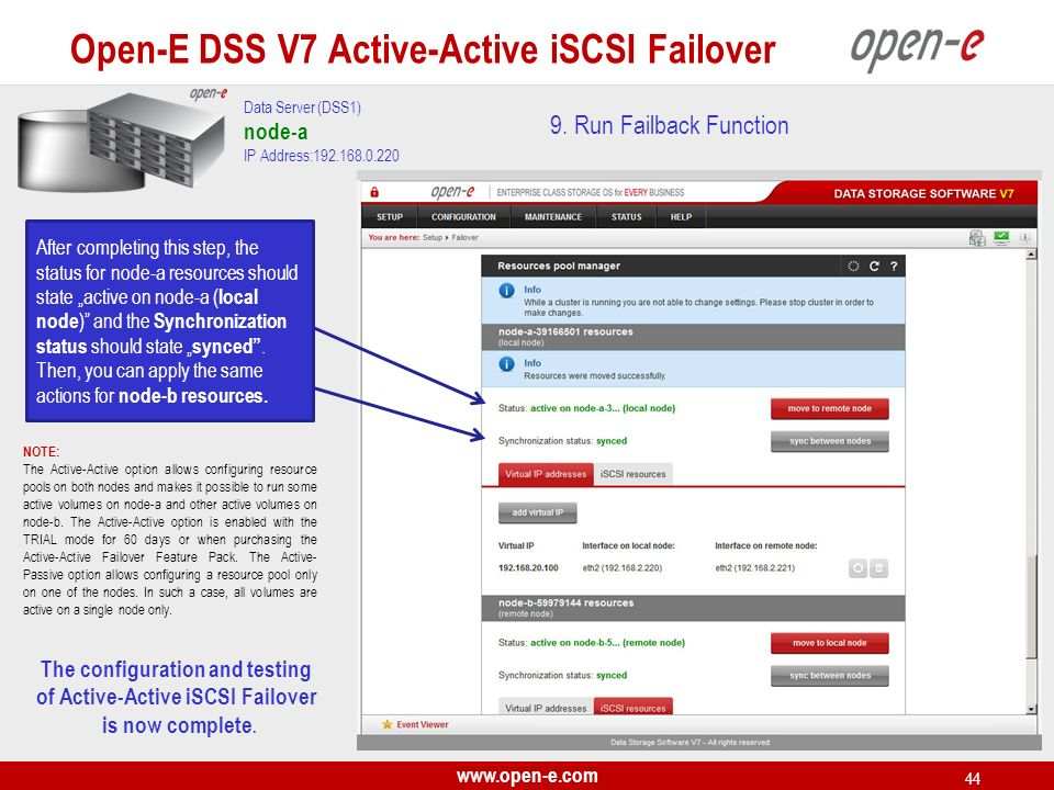 The configuration and testing of Active-Active iSCSI Failover