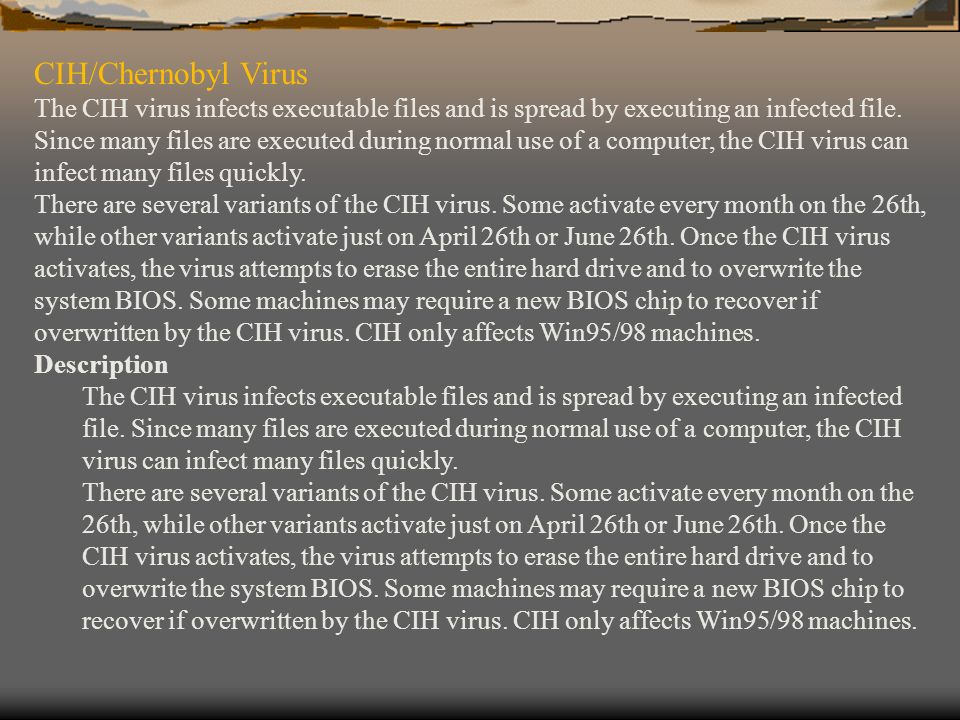 CIH/Chernobyl Virus