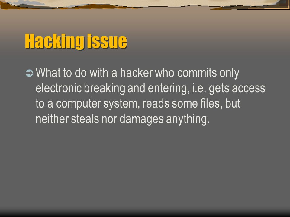 Hacking issue