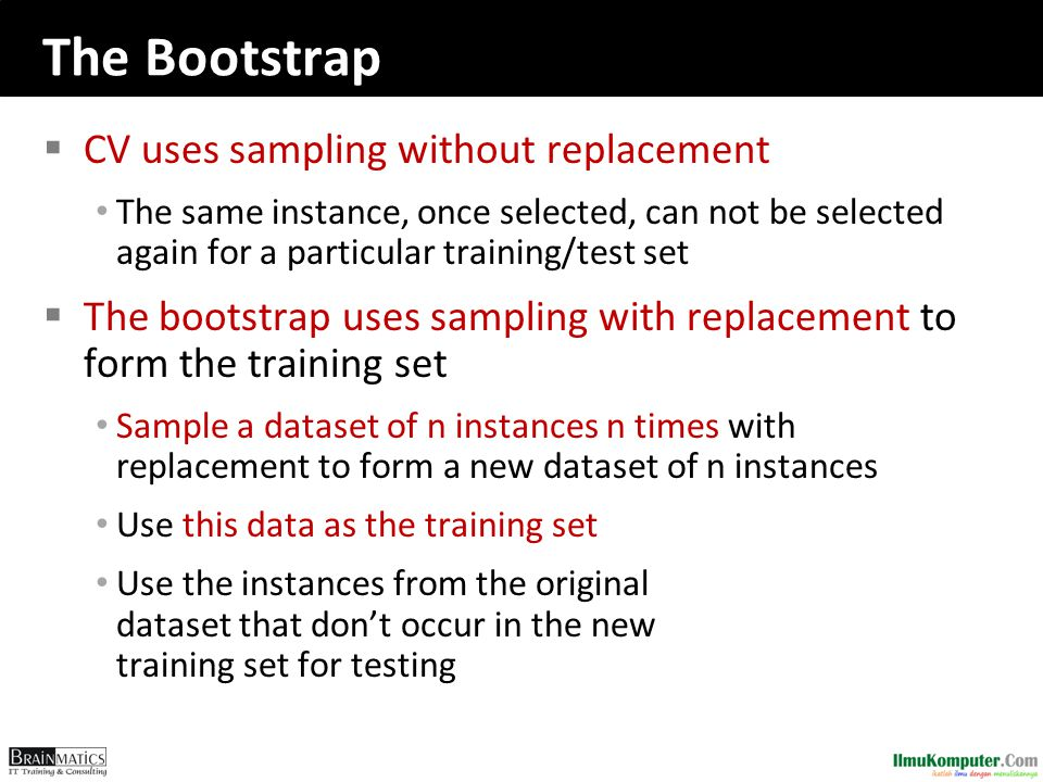 The Bootstrap CV uses sampling without replacement
