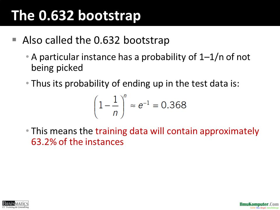 The 0.632 bootstrap Also called the 0.632 bootstrap