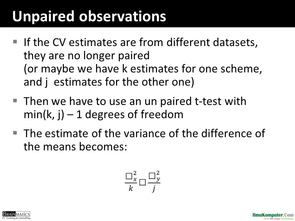 Unpaired observations