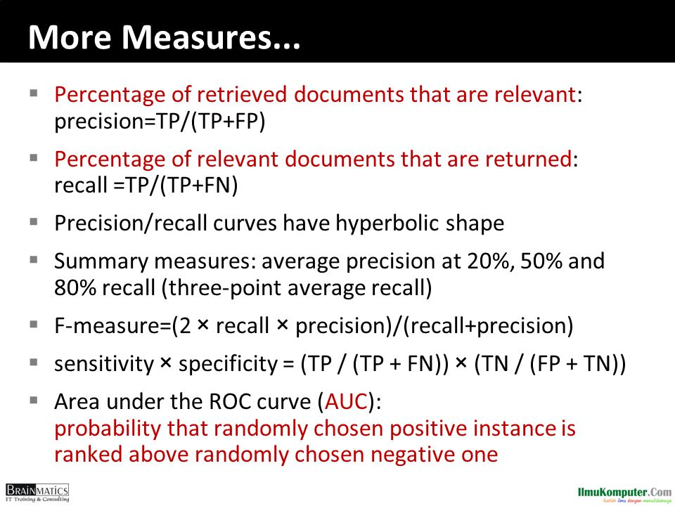 More Measures... Percentage of retrieved documents that are relevant: precision=TP/(TP+FP)