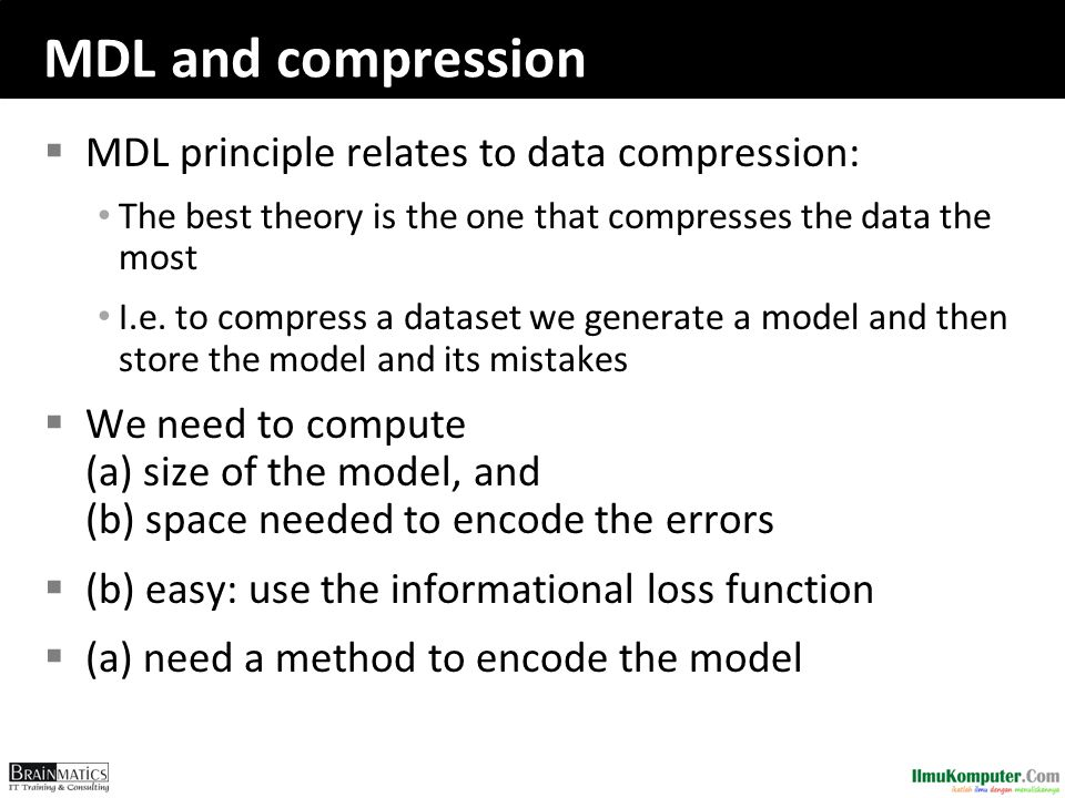 MDL and compression MDL principle relates to data compression: