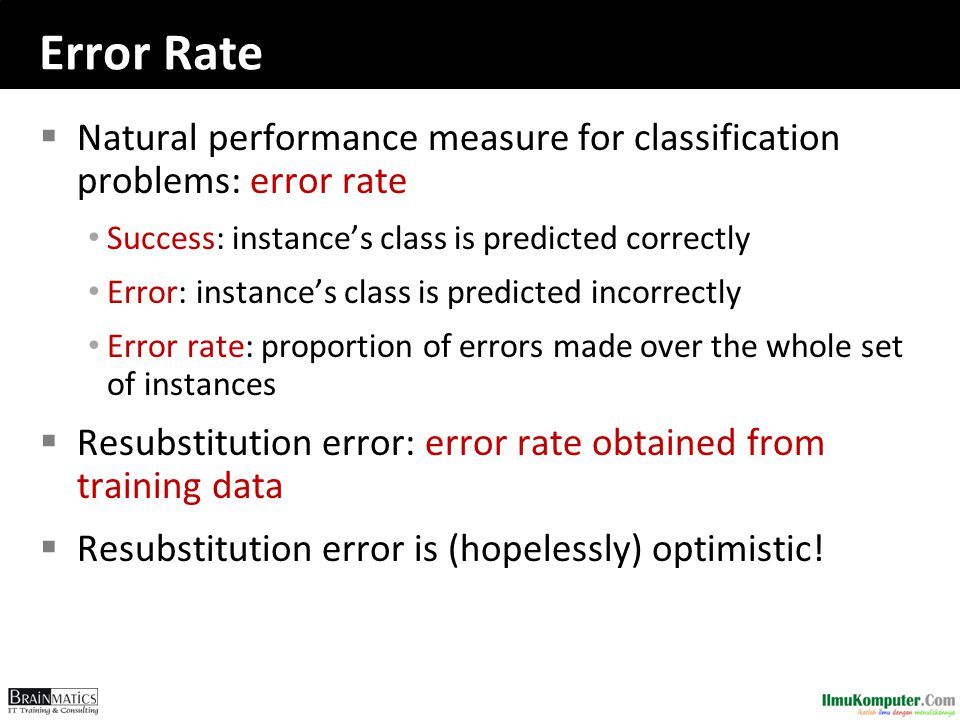Error Rate Natural performance measure for classification problems: error rate. Success: instance's class is predicted correctly.