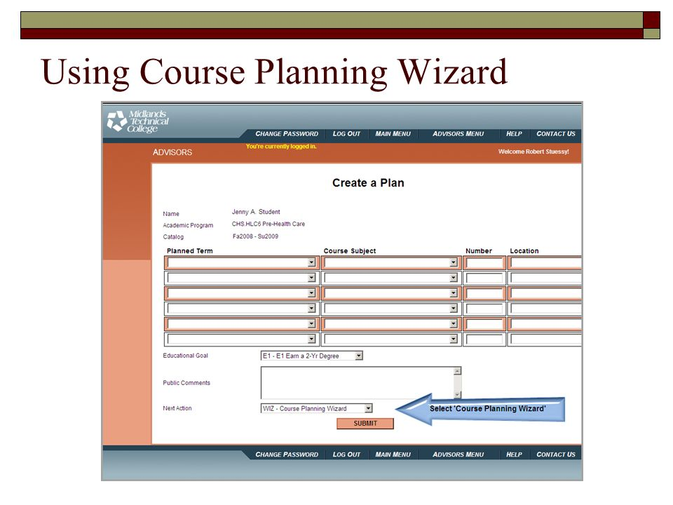 Using Course Planning Wizard