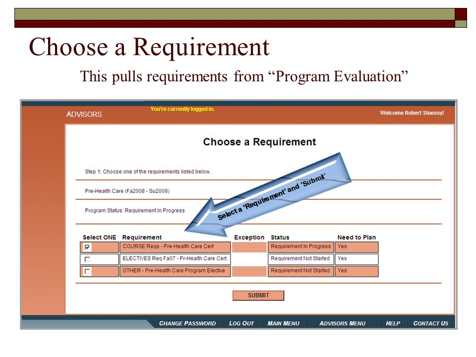 This pulls requirements from Program Evaluation