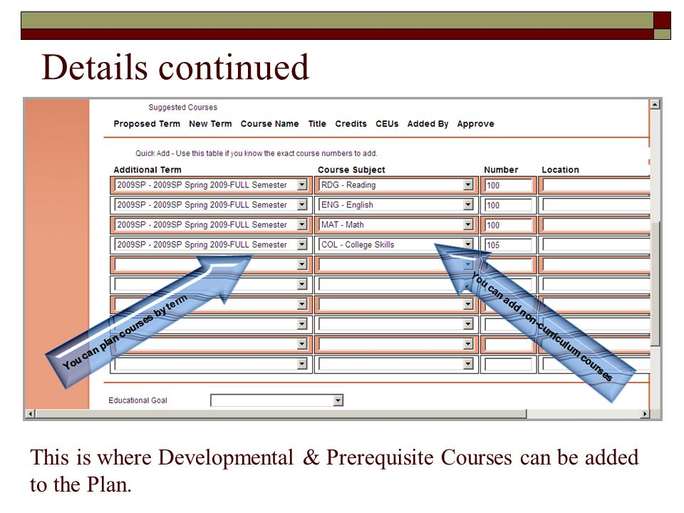 Details continued This is where you would add developmental & prerequisite courses.