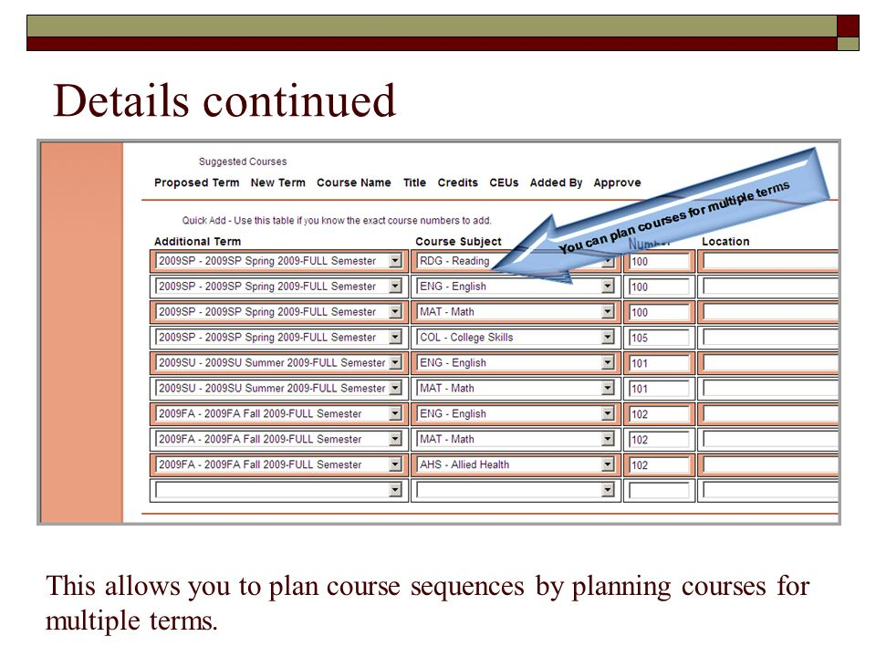 Details continued This allows you to plan course sequences by planning courses for multiple terms.