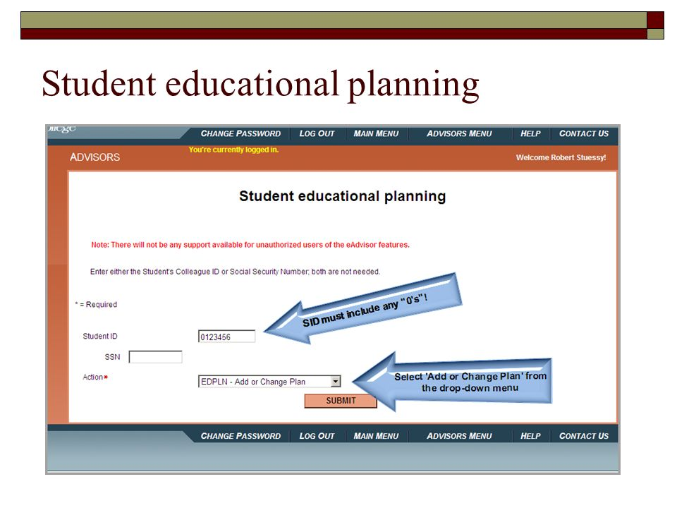 Student educational planning