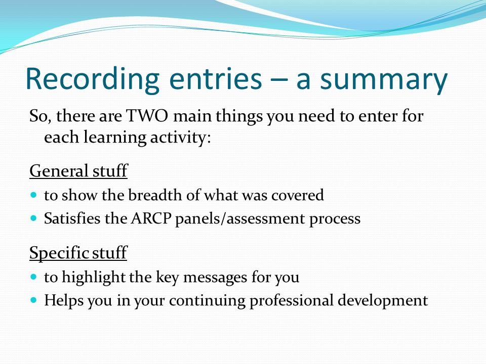 Recording entries – a summary
