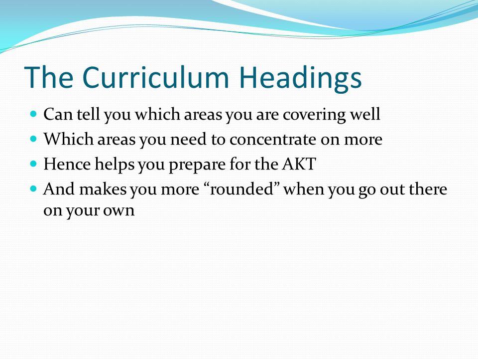 The Curriculum Headings