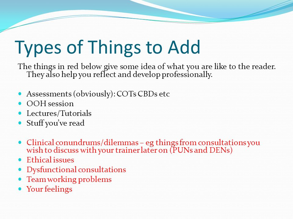 Types of Things to Add