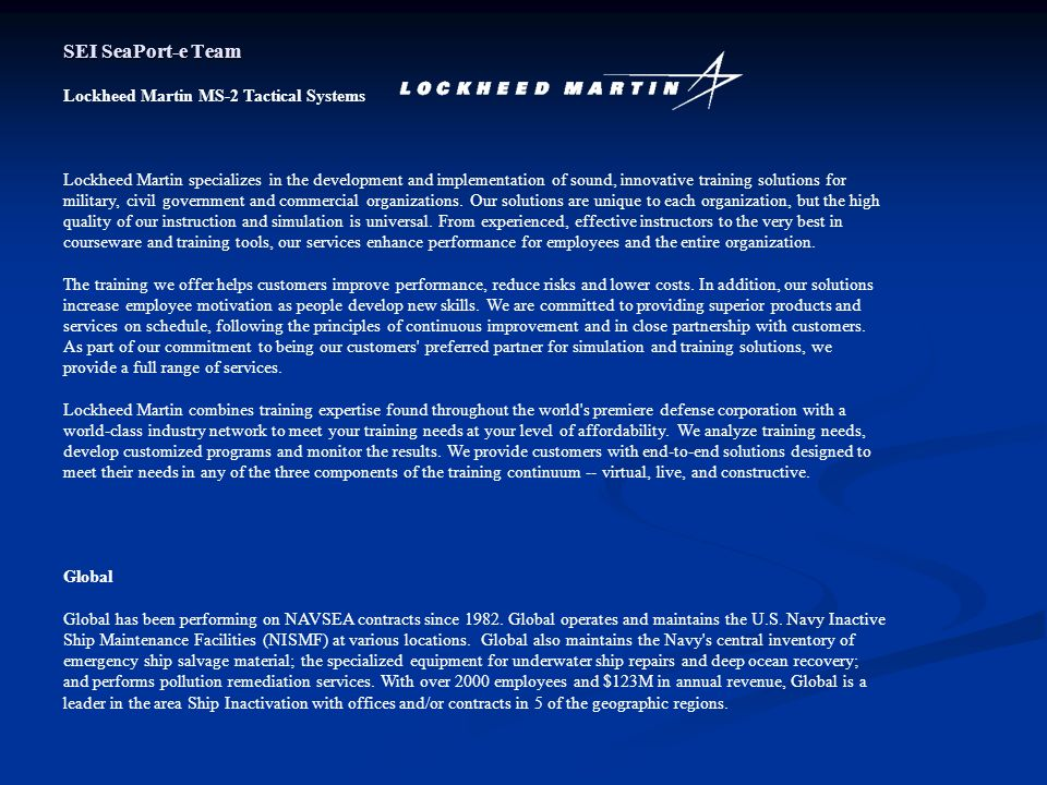 SEI SeaPort-e Team Lockheed Martin MS-2 Tactical Systems