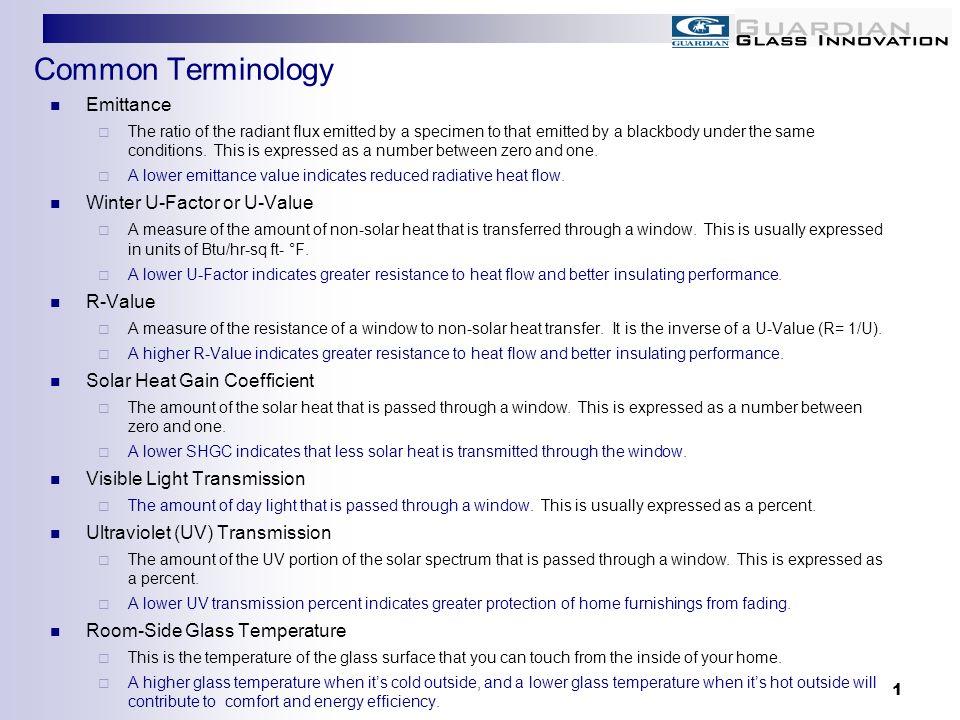 Common Terminology Emittance Winter U-Factor or U-Value R-Value
