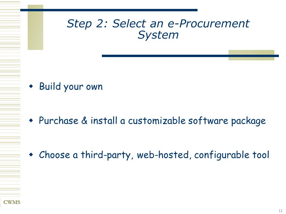 Step 2: Select an e-Procurement System