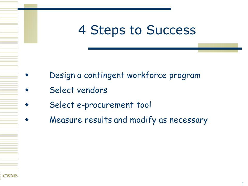 4 Steps to Success Design a contingent workforce program