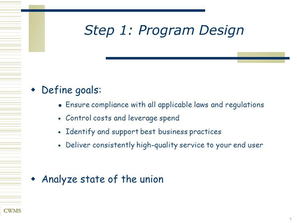 Step 1: Program Design Define goals: Analyze state of the union
