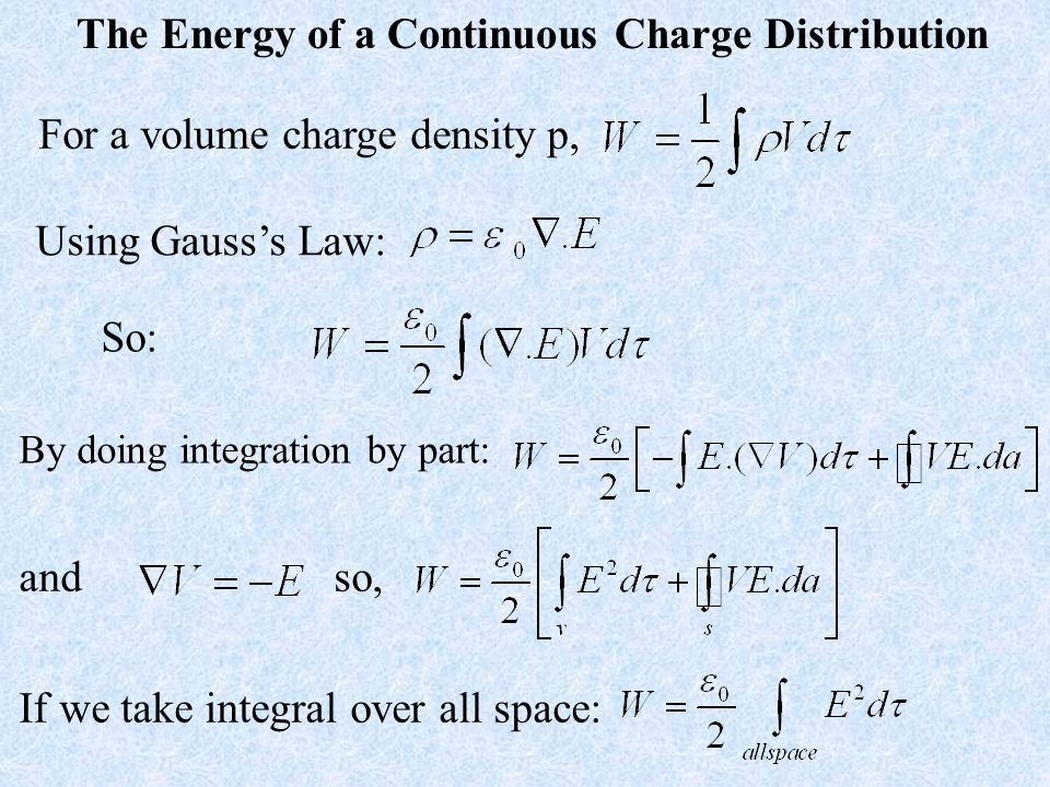 The Energy of a Continuous Charge Distribution