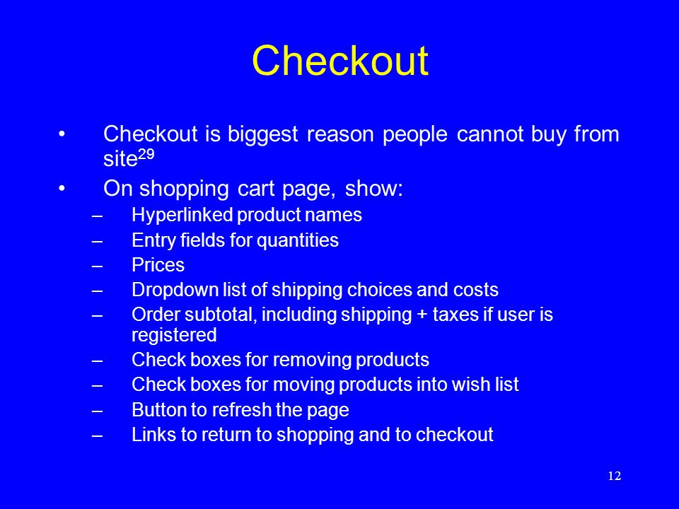 Checkout Checkout is biggest reason people cannot buy from site29