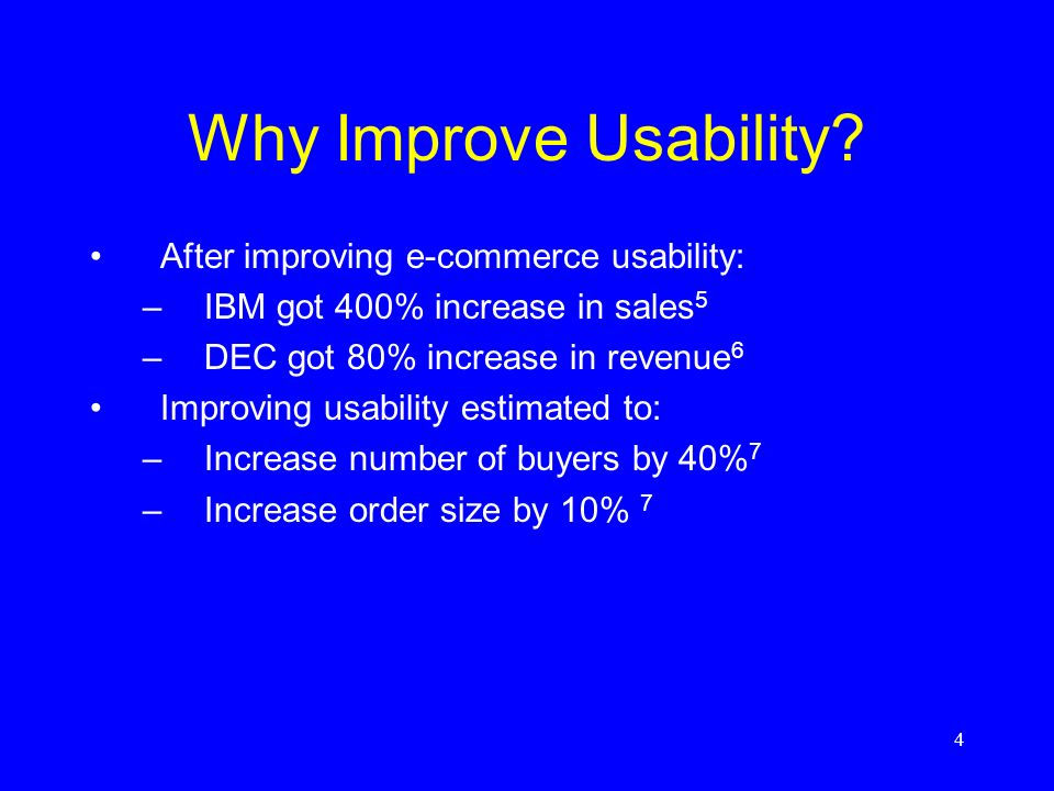 Why Improve Usability After improving e-commerce usability:
