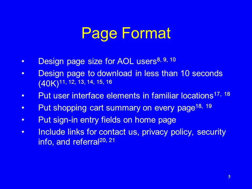 Page Format Design page size for AOL users8, 9, 10