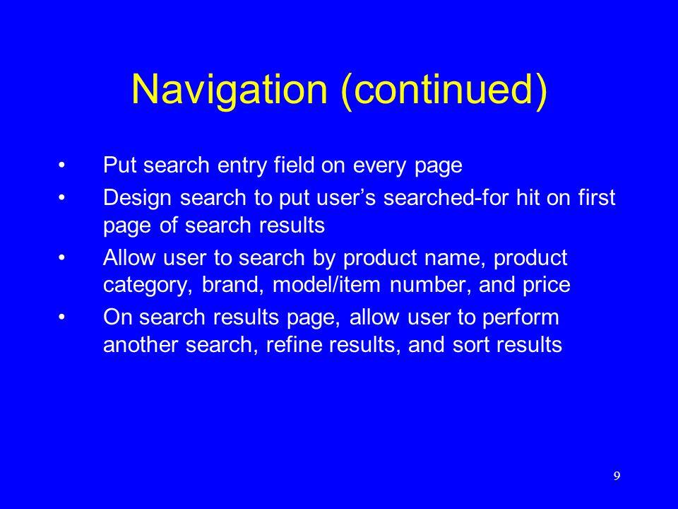 Navigation (continued)