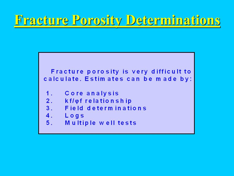 Fracture Porosity Determinations