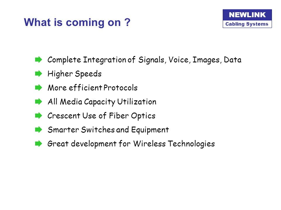 What is coming on Complete Integration of Signals, Voice, Images, Data. Higher Speeds. More efficient Protocols.