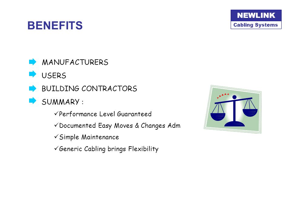 BENEFITS MANUFACTURERS Telecomm USERS BUILDING CONTRACTORS SUMMARY :