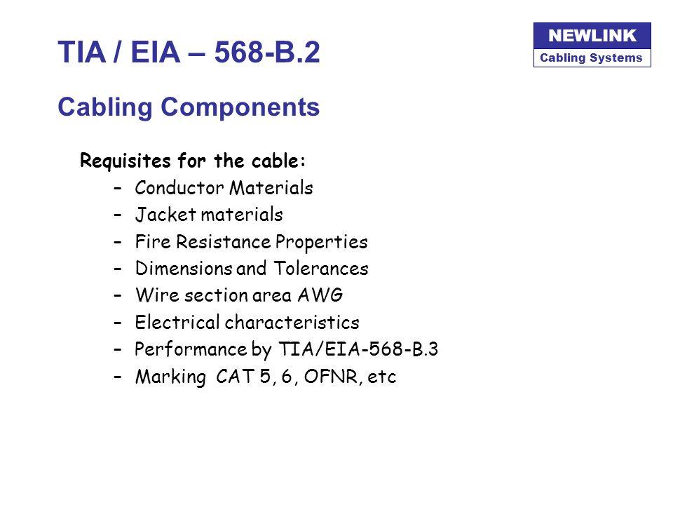 TIA / EIA – 568-B.2 Cabling Components