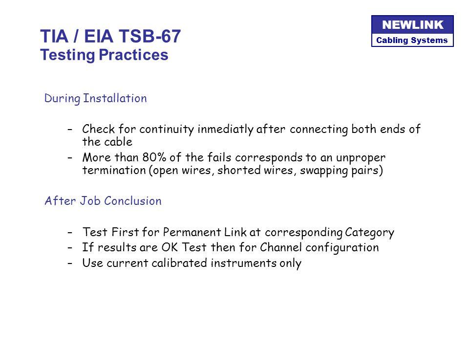 TIA / EIA TSB-67 Testing Practices