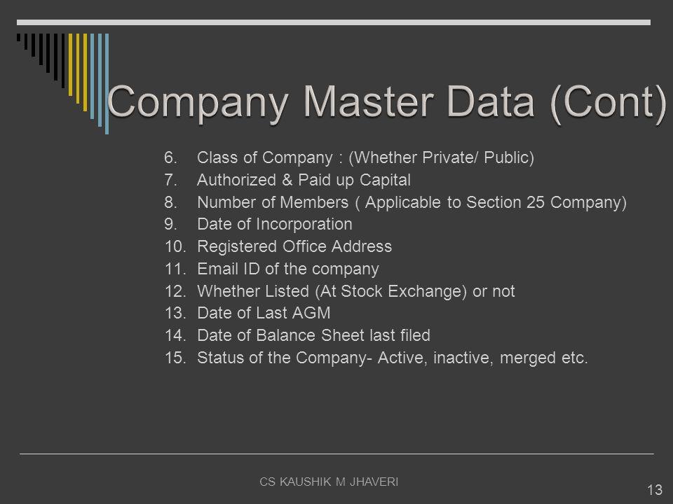 Company Master Data (Cont)
