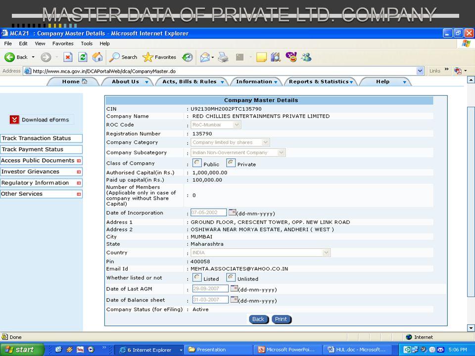 MASTER DATA OF PRIVATE LTD. COMPANY