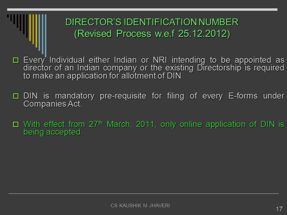 DIRECTOR'S IDENTIFICATION NUMBER (Revised Process w.e.f 25.12.2012)
