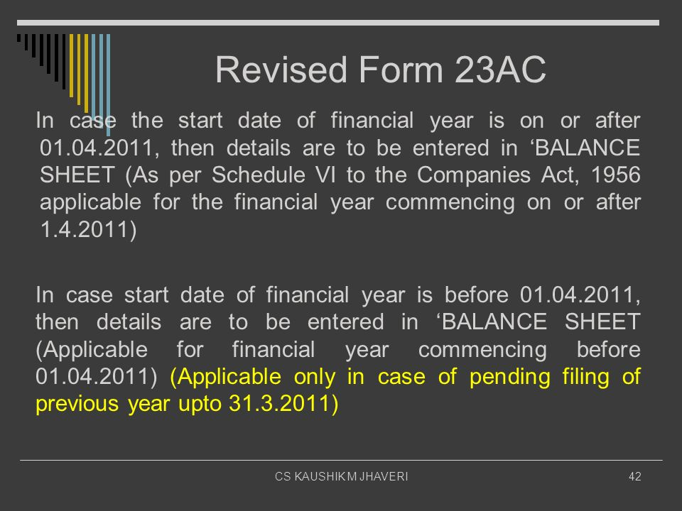 Revised Form 23AC