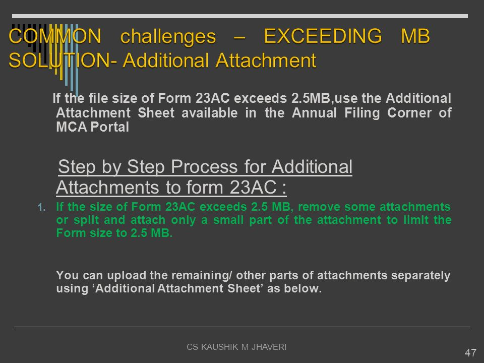 COMMON challenges – EXCEEDING MB SOLUTION- Additional Attachment